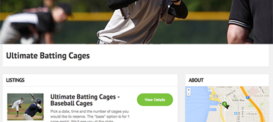 Get booked on the Batting Cages directory